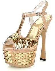 CBIN&HUA Zapatos de mujer-Tacón Stiletto-Tacones / Punta Abierta / Plataforma / Talón Descubierto-Sandalias-Vestido / Casual / Fiesta y Noche-PU- , golden , us8 / eu39 / uk6 / cn39