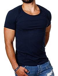 Carisma Herren Uni Basic T-Shirt 4066 tiefer Rundhals Ausschnitt slimfit stretch einfarbig dezenter vintage used Look am Kragen dehnbare Passform