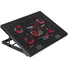 """Mars Gaming MNBC2 - Base de refrigeración gaming para portátiles de hasta 17.35"""" (5 ventiladores ultrasilenciosos, iluminación LED roja, 2 x USB2.0), negro y rojo"""