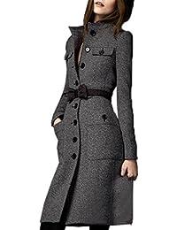 FINEJO Women Parka Slim Fit Long Trench Coat Full Length Wool Blend Jack