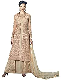 Style New Beige Embroidered Party Wear Attractive Look Stylish Fancy Designer Dress