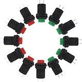 ESUMIC® Interruptor Momentary de la CA 250V / 1.5A 125V / 3A SPST Momentary 12PCS (rojo y verde)