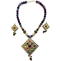 Mogul Innen Damen Indian State T Jewelry Fashion Indi Meenakari Halskette Ohrringe Sets 29,2 cm blau