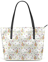 COOSUN Unicornio de Color con Las Estrellas patrón PU Cuero Bolso Monedero  y Bolsos de la Bolsa de Asas para Las Mujeres Medio… 6b759f6ff431a