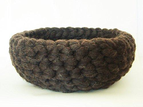 *Korb Aufbewahrung Katzenkorb dunkelbraun reine Schafschurwolle Kammzug*