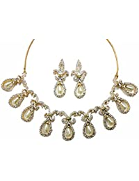 Pearl Drop Necklace Set In CZ Crystal Diamonds With Gold & Rhodium Plated By Sempre Of London