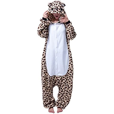 Moollyfox Kigurumi Pijamas Unisexo Adulto Traje Disfraz Adulto Animal Pyjamas Leopard M
