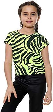 Camiseta elástica de verano con estampado de cebra para niñas, de 5 a 14 años