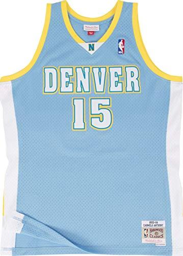 Carmelo Anthony (Mitchell & Ness Carmelo Anthony #15 Denver Nuggets 2003-04 Swingman NBA Trikot Blau, XXL)