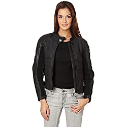 KENROD Chaqueta de mujer para moto, con protecciones. Piel 100% auténtica. Color negro. Talla XXL.