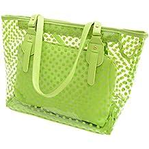 Tinksky Borsa a pois trasparente con sacchetto e cerniera Borsa donna a spiaggia (verde)