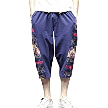 Rosatro Men Track Pants,Men Fashion Wide Crotch Harem Cotton Linen Wide-Legged Bloomers Cropped Trousers Gym Jogger Pajama Mix Lycra Lower Trackpants/Gymwear/Nightwear/Loungewear/Sports