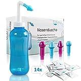 FUCHSI® Nasendusche | Extra Große Nasenspülung 500ml + 14x 4g Nasenspülsalz + 4 Aufsätze für Erwachsene & Kinder | effektive Nasenreinigung bei Schnupfen, trockener Nase, Allergie, Erkältung - BLAU