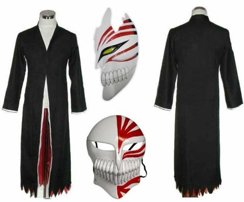 Sunkee Japanische Anime Bleach Ichigo Kurosaki Cosplay Kimono Mantel + Ichigo Kurosaki maske set, Größe M :(Größe 155-162cm,Gewicht ()