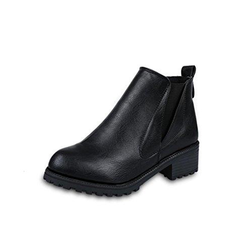 Feixiang stivali donna donna inverno stivaletti tacchi bassi moda stivali autunno inverno scarpe-cuoio artificiale+ plastica (39, nero)