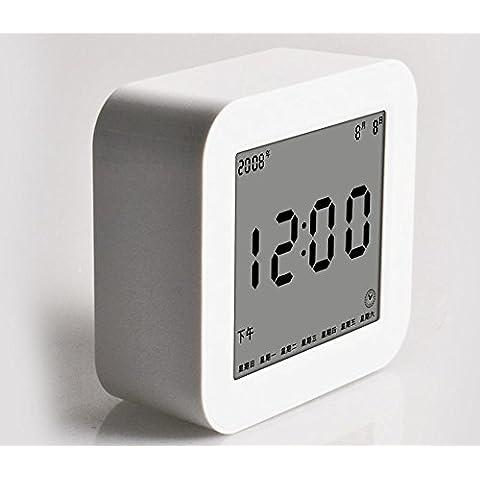 KHSKX Despertador inteligente estudiantes creativos despertadores silencioso alarma electrónica perezoso contraluz del LCD multifunción white