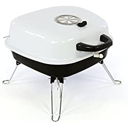 Mini Koffer-Grill Holzkohlegrill für Garten Terrasse Camping Festival Picknick Party BBQ Barbecue ca. 34 x 36 cm Grillfläche weiß