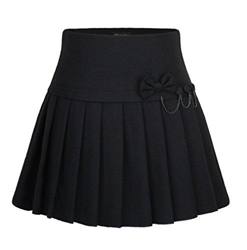 Cheerlife Damen Heiß Schule Mädchen Kariert Röcke Minirock Wollrock Faltenröcke kurz Skirt 13 Schwarz
