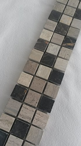 Mosaik Bordüre 5x30 Naturstein Marmor Fliesen Grau Schwarz Weiss Bad Dusche