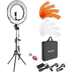 Neewer Caméra Photo Vidéo Eclairage Kit : 48cm Extérieur 55W 5500K Réglable LED Lumière Anneau, Trépied d'Eclairage, Récepteur Bluetooth pour Smartphone, Youtube, Vine Self-portrait Vidéo Tournage