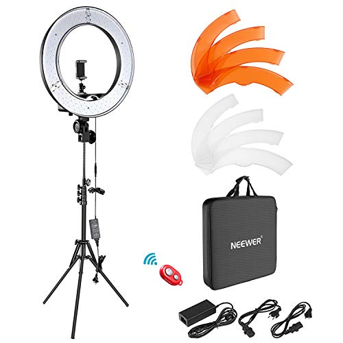 Neewer Cámara Foto Video Kit de Iluminación: 48 Centímetros Exterior 55W 5500K Dimable LED Anillo de Luz, Soporte de Luz, Receptor Bluetooth para Móvil, Youtube, Disparo Selfie Video