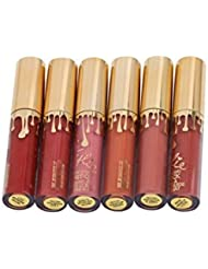 5Five Lot de 6?mini tapis liquide rouge à lèvres rouge à lèvres Liquid Lip Gloss Lip Liner Maquillage longue durée