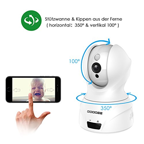 GooDee 720P HD P2P drahtlose IP Kamera 2.4GHz Wlan/Wifi Babyfon Indoor Heim Home Security Überwachungskamera(mit deutscher App 15m Nachtsicht - 2