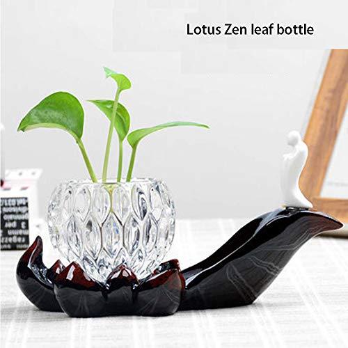 HPYR Kreative Grüne Rose Hydrokultur-Vase, transparente Glasflasche, Individualität Wasserkultur-Blumentopf Blumentopf Indoor Dekoration, Keramik, 8, Large (Künstliche Blumen Für Die Beerdigung)