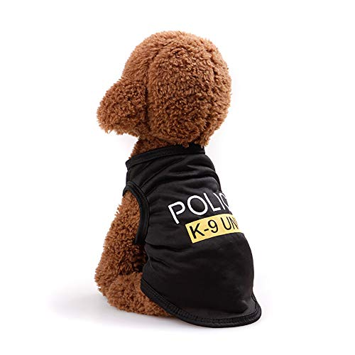 Einfachen Kostüm Schwarzen Kleid - Vektenxi Haustier-Polizei-Weste Haustier-T-Shirt Haustier-Breathable Kostüme Haustier-Sommer-Kleid einfach zu tragen und sauberes schwarzes M Size