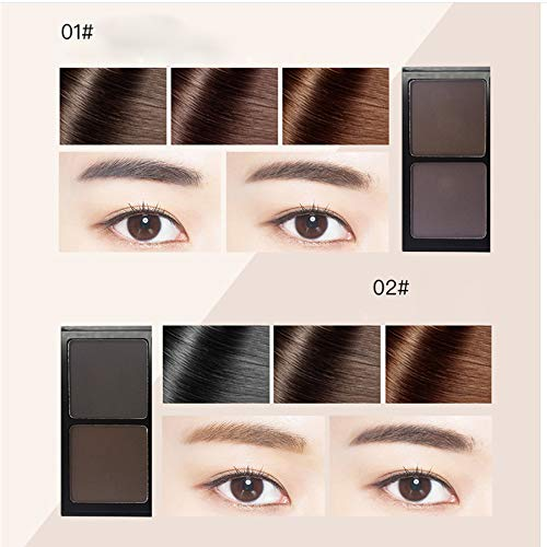 RATWIFE Augenbraue Pulver Double Color zarte weiche wasserfeste dauerhafte Make-up Eyebrow Powder + Augenbrauen Pinsel