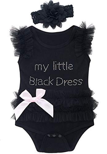 Mombebe Baby Mädchen Prinzessin Tutu Body Kleid mit Stirnband (Schwarz, 0-3 ()