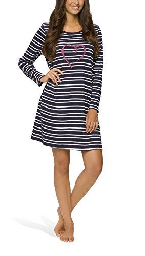 Baumwoll-nachthemd (Moonline - Damen Nachthemd kurz Sleepshirt Nachtkleid aus 100% Baumwolle von Größe S - 4XL, Farbe:navy, Größe:36/38)