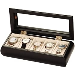 Uhrenbox Alexandro Holz Uhrenschatulle Vitrine Uhr schwarz