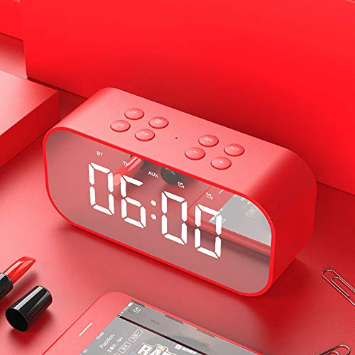 JHJX Bluetooth-Lautsprecher LED Wireless Uhr-Alarm Anzeige Bluetooth-Lautsprecher - TF-Karte - Radio Computer-Lautsprecher,Red