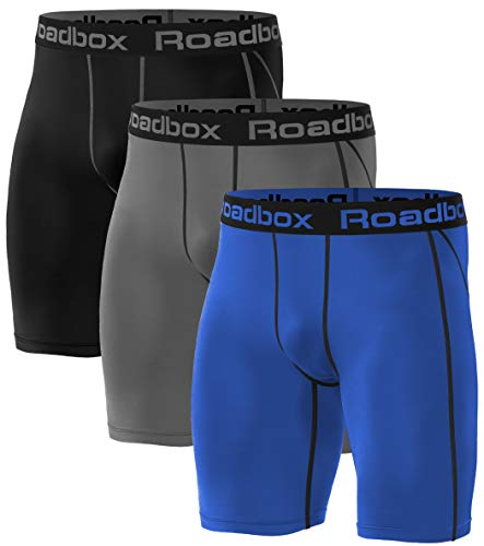 Roadbox 3er Pack Herren Kompressionsshorts, Laufhose Herren Kurz Schnelltrocknendes Baselayer Short Tights Kurz Hose