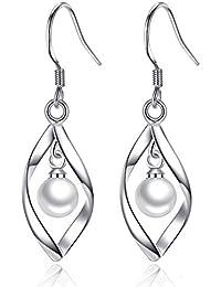 ff651c3c7ad2 Hanie - Conjunto de pendientes y pendientes de plata de ley 925 con cadena  de plata de 45 cm para novia