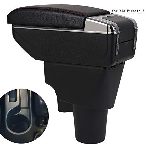 QCFSXWDDX Para Kia Picanto Apoyabrazos Caja Picanto 3X-Line Universal Car Apoyabrazos Central Caja de Almacenamiento portavasos cenicero Accesorios de modificación