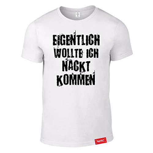 #KARNEVAL: Original HARIZ® Collection T-Shirt // 36 Designs wählbar // Weiss, S-XXL // Fasching I Halloween I Altweiberfastnacht I Verkleidung #Karnveal10: Nackt kommen (Männer Für Costums Halloween)