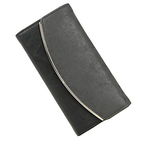 Portafogli di Finta Pelle Pulsante Borsa Signora Lungo da Donna Moda Borsetta Nero