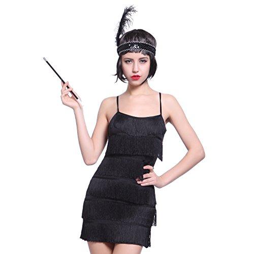 Flapper Kleider Fransenkleid Tanzkleid Charleston Kostuem mit Zigarrettenhalter Kopfband (S, Schwarz) (20er Jahre Kostüme)