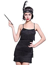 Anladia 20er Fransen Flapper Kleider Fransenkleid Tanzkleid Charleston Kostuem mit Zigarrettenhalter Kopfband