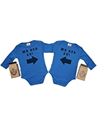 SR - Gift Boxed He Did It & He Did It Organic Baby Boy Twins Set - Baby Boy Twins Babygrow Set - Baby Twin Gift - Baby Twins