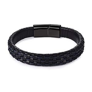 f0c9841071cc1 Image indisponible. Image non disponible pour la couleur   DALARAN  Bracelets en Cuir Tressé pour Hommes Bracelets en Acier Inoxydable ...