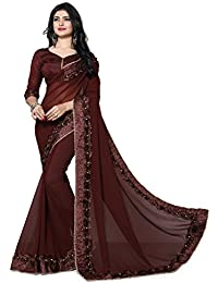Culture Fab Georgette Saree With Blouse Piece(1054_CL_Brown_Free Size)