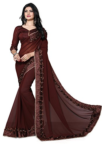 Fab Valley Georgette Saree With Blouse Piece (FAB-1054-S_Brown_Free Size)