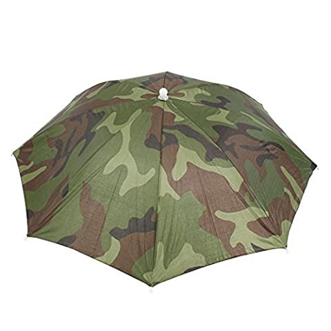 Elastic Headband Camouflage Pattern Sun Rain Umbrella Hat Cap for Fishing