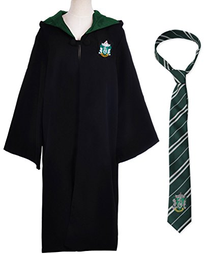 chingskostüme Gryffindor Slytherin Ravenclaw Hufflepuff Kostüm Kapuzen Kap für Damen Herren Kinder Jungen Mädchen (Slytherin Kap Kostüm mit Krawatte, Etikett XL für Erwachsene) (Slytherin Mädchen Kostüme)