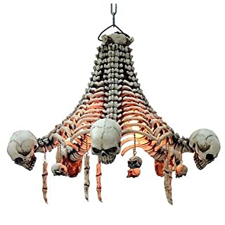 Ars-Bavaria Ceiling Light Skeletons with Hanging Skulls 48 cm