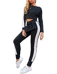 53be066a1231 Donna Completi Sportivi Moda Tuta da Ginnastica Jogging Manica Lunga  Striscia Crop Top + Pantaloni Sportivo 2 Pezzi…