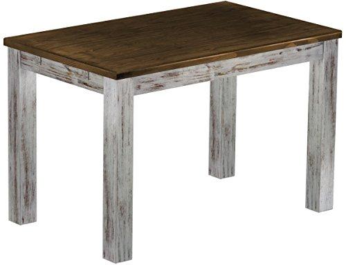 Brasilmöbel Esstisch Rio Classico 120x73 cm Shabby Platte Eiche Massivholz Pinie Holz Esszimmertisch Echtholz Größe und Farbe wählbar ausziehbar vorgerichtet für Ansteckplatten